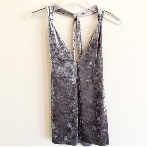 Zara Green/Silver Crushed Velvet Tank Top, Sz Med